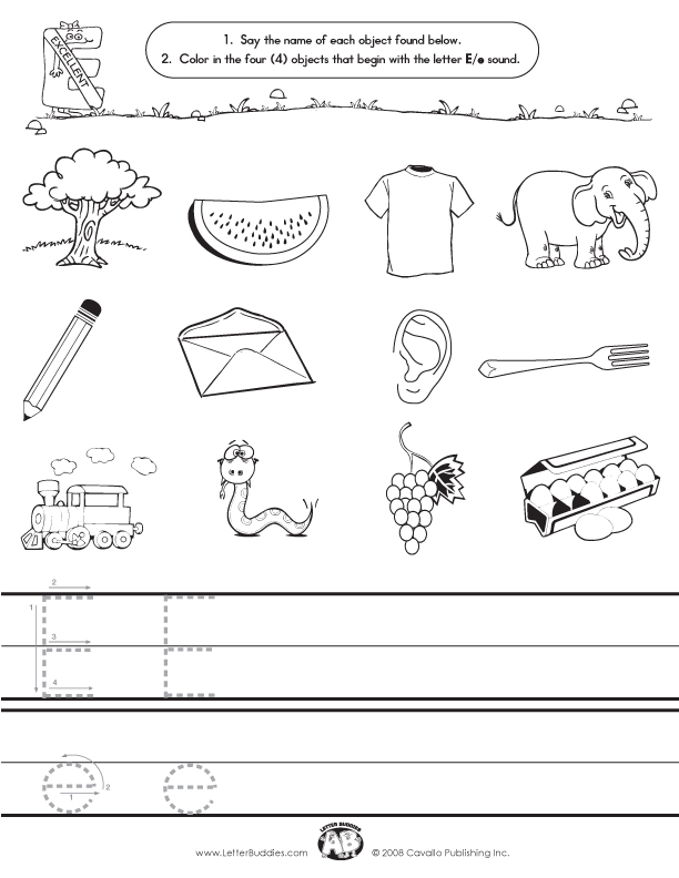 Initial Sounds – Worksheet E